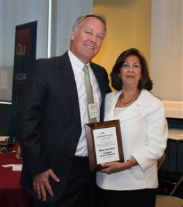 Bruer Kershner of Kershner Office Furniture with Sandy Lovascio, Director of Development for the Society of the Holy Child Jesus - American Province at the Executive Leaders Radio and Entrepreneurs Forum of Greater Philadelphia at the CEO Philanthropy Awards Breakfast in Philadelphia.